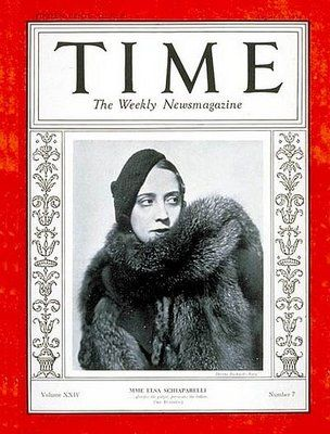 Elisa Schiaparelli, Italian designer, on the cover of Time magazine. She was one of the most important surrealisn designer. She created clothes that changed the body, not fitted to the woman's body.