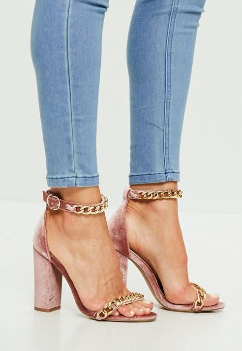 d1a208f94c Missguided Pink Chain Block Heeled Sandals | Sophia/warrior in 2019 ...