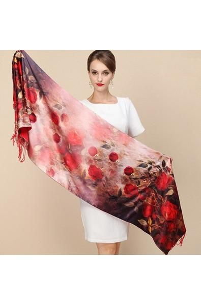 Two Layer Scarf One Sideis 100% Silk Another Sideis Brushed Fabric that Feels like Cashmere Two Layers To Keep You Warm While