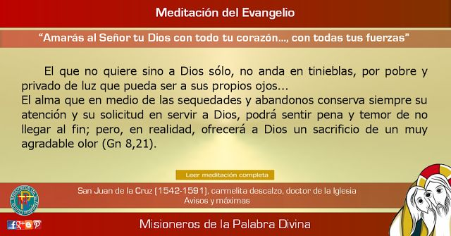 """MISIONEROS DE LA PALABRA DIVINA: MEDITACIÓN DEL EVANGELIO - """"Amarás al Señor tu Dio..."""
