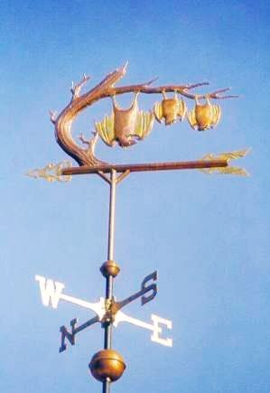 Hanging Bat with Family Weather Vane by West Coast Weather Vanes.  Our original Bat weathervane consisted of a parent bat and two baby bats. It was commissioned by a family with two children.  It is made