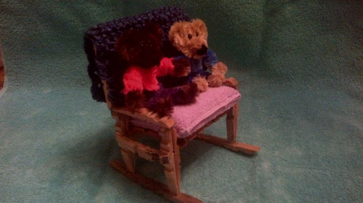 Two seater rocking chair made from clothes pegs,bears made with pipe cleaners,