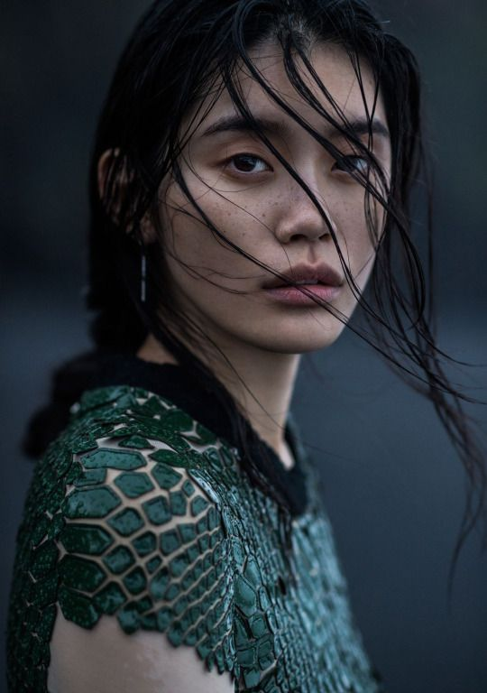 Vogue China January 2016, The Silence of the Sea  Ming Xi by Gilles Bensimon