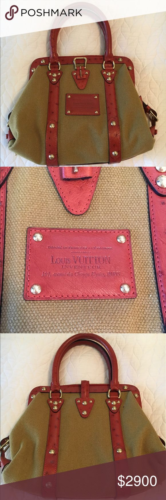 Louis Vuitton vintage purse This exquisite vintage Louis Vuitton purse is in perfect condition- not a single mark, scratch or flaw. It comes with original price tags, paperwork, dust bag, and box. Tan canvas with red leather. Louis Vuitton Bags Shoulder Bags