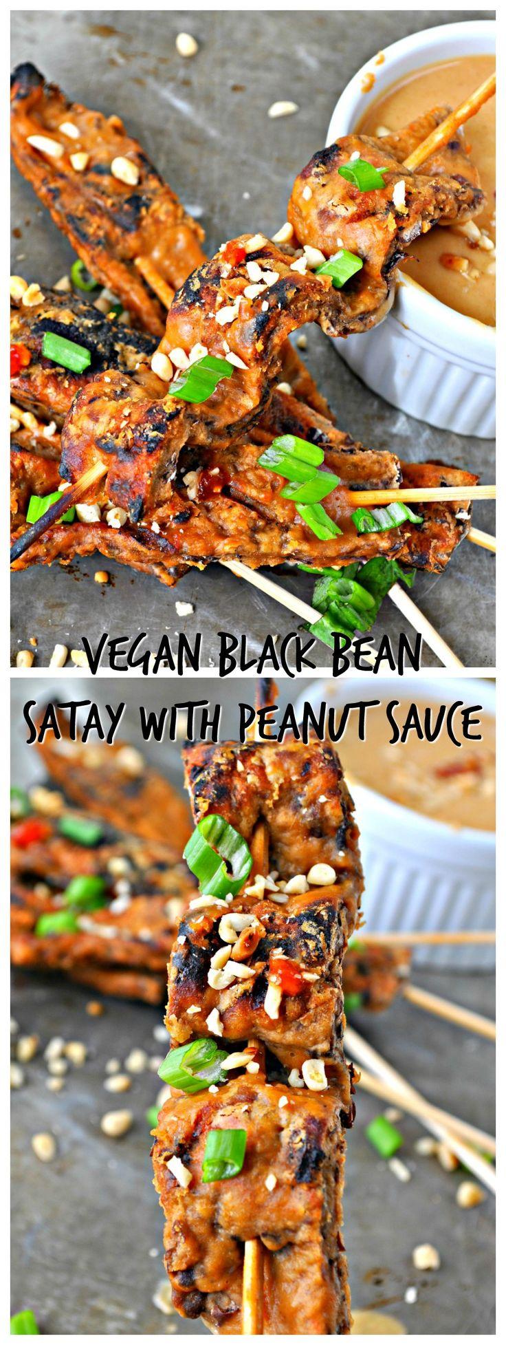 Vegan Black Bean Satay with Peanut Sauce