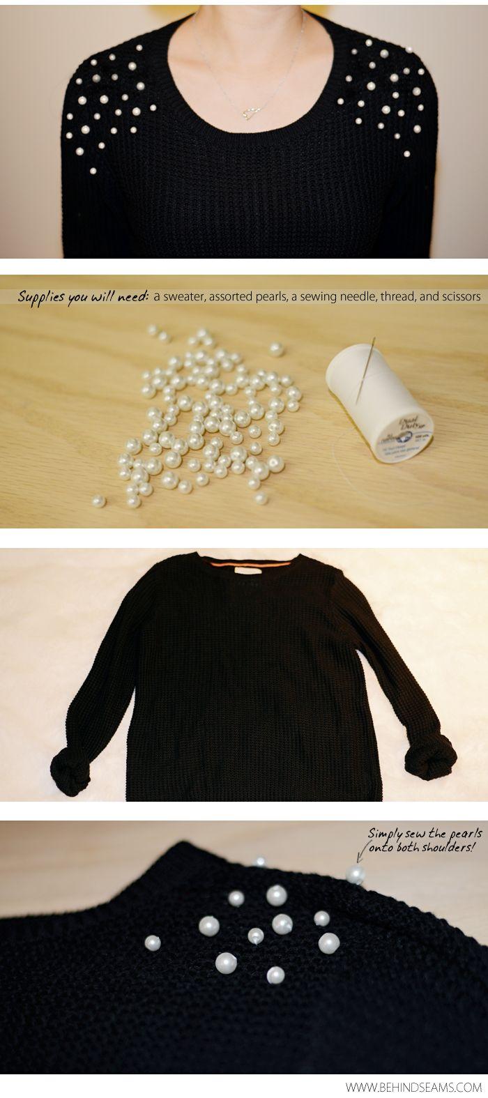 DIY: Pearl Embellished Shoulders http://www.bloglovin.com/blog/post/6879765/2636051251?link=aHR0cCUzQSUyRiUyRnd3dy5iZWhpbmRzZWFtcy5jb20lMkYyMDE0JTJGMDQlMkZkaXktcGVhcmwtZW1iZWxsaXNoZWQtc2hvdWxkZXJzLmh0bWw=
