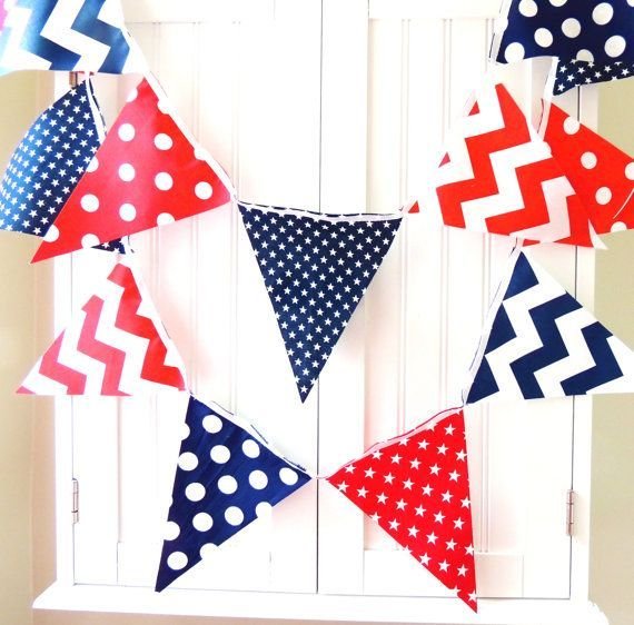 Banner, Bunting Fabric Pennant Flags, Navy Blue, Red, White, Stars ...