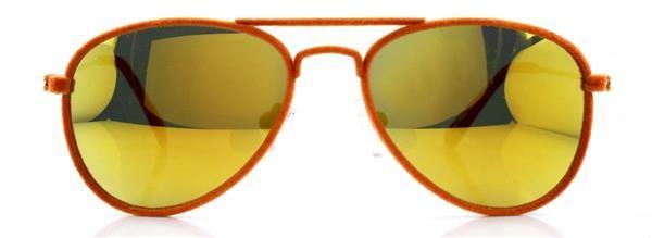 Gafa niño 41 Eyewear - MR. FRAMES JR. Gafa piloto terciopelo (acabado efecto terciopelo en el frente) en color naranja. Terminales naranja flúor mate.