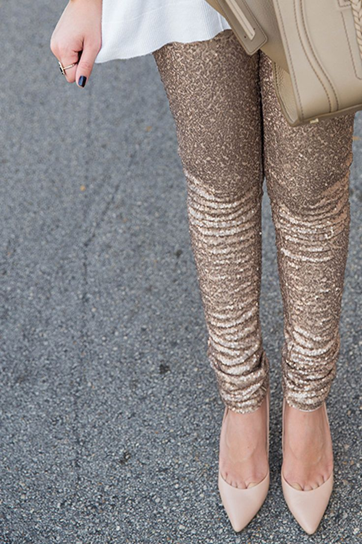 Step out and shine in these adorable rose gold sequin leggings. These sequin leggings are a must have this holiday season! Micro sequins add glitz to these statement pants! Perfect for the Holidays. T