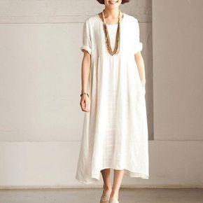 Short sleeve linen dress summer long dress