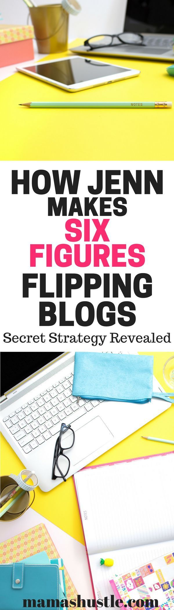 Jenn shares her secret strategy that she's used to make over six figures blog flipping! Her entire process, start to finish. Don't miss it! | mamashustle.com