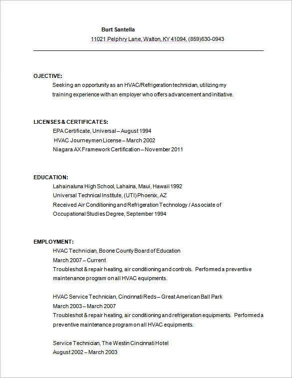 Resume Templates Hvac Template Free