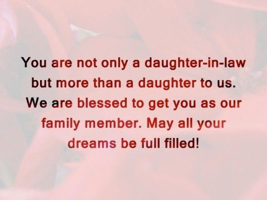 You Are Not Only A Daughter In Law But More Than A Daughter To Us