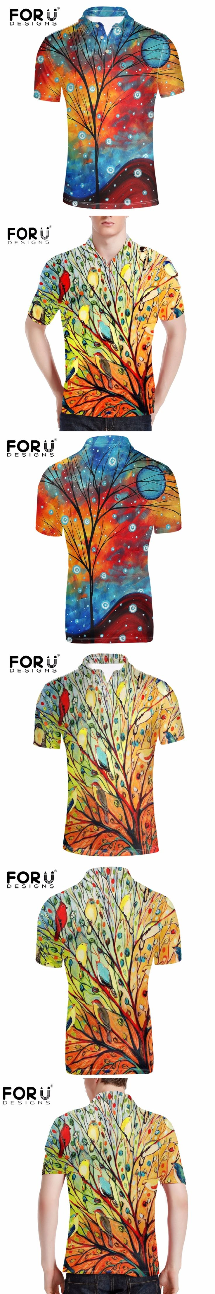 FORUDESIGNS Brand Designer Mens Polo Shirt 3D Hand-painting Cotton Polo for Man Summer Style Short Sleeve Spandex Men Polo Shirt