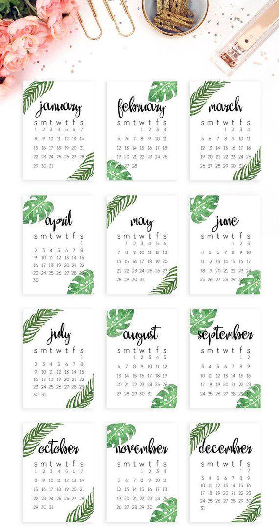 2019 Kalender Vorlage druckbare 2019 Wand Kalender druckbare 2019 Schreibtisch Kalender 2019 druckbare modernen minimalistischen tropischen 5 x 7 Kalender 2019