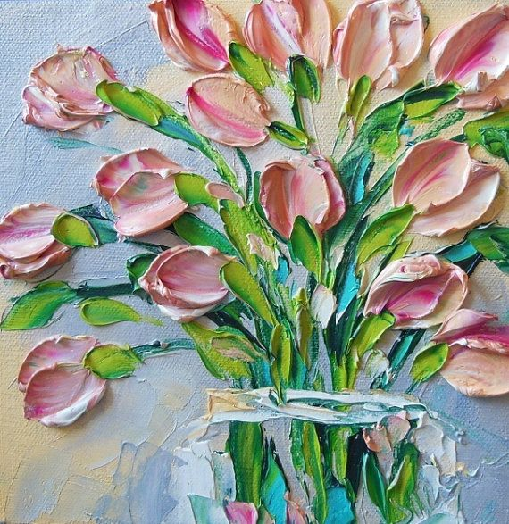 Original Oil Painting Pink Tulips floral 8x8  ART  Painted on wide edge gallery wrapped canvas in impasto oil technique with brush and palette