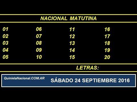 Video Quiniela Nacional Matutina Sabado 24 de Septiembre de 2016 Pizarra del sorteo desarrollado en el recinto de Loteria Nacional a las 14:00