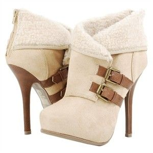 Soda Odande Tan Faux Wool Cuff Ankle Boots and Womens Fashion Clothing & Shoes - Make Me Chic