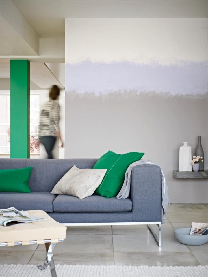 Use dynamic colours to create an exciting and modern feel  paradise green 4    (pillar) grey steel 4             (wall)   grey fragrant cloud 4      (wall)   blue  #colour #interior #decor