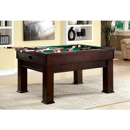 Furniture of America Bumpel collection cherry finish wood bumper pool table set