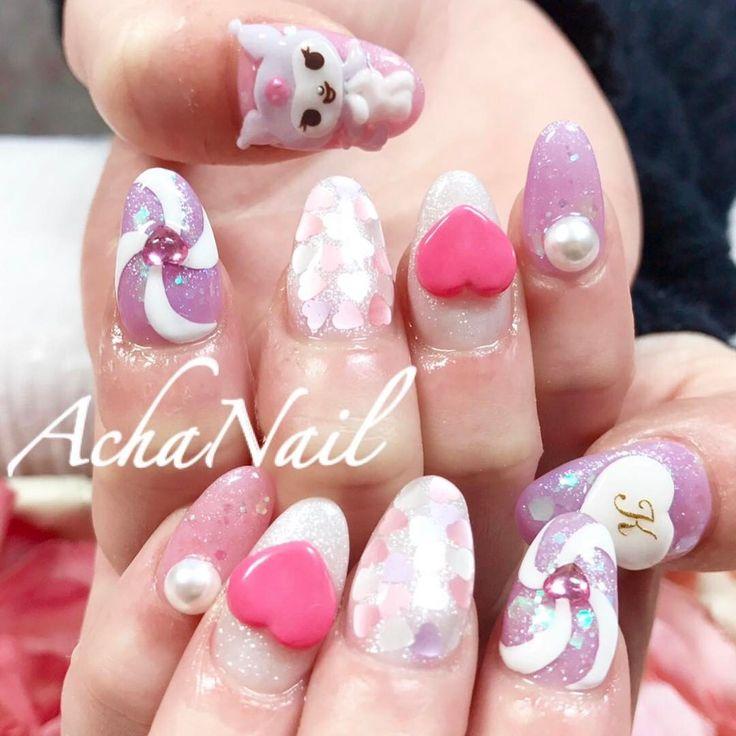クロミちゃんネイル💕 http//ameblo.jp/acha,nail/entry,12239640757.html 3Dネイル マイメロ  クロミ ハートネイル キャンディネイル パステルネイル