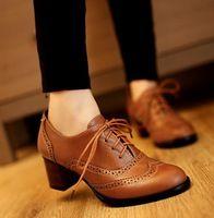 Tamaño grande de la vendimia 11 de las mujeres talló casuales las mujeres de cuero negro zapatos de tacón alto zapatos oxford para mujeres 2014
