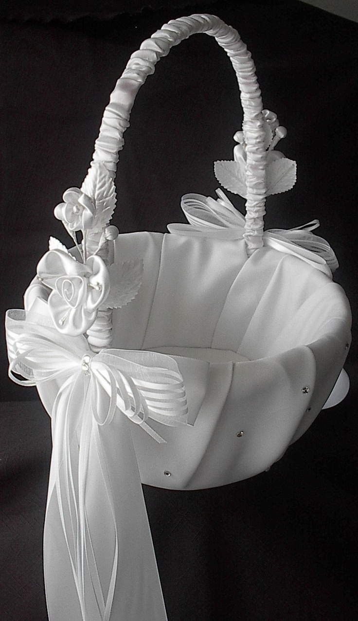 Wedding Flower Girl Basket with Satin Bows by SisiCreations. $45.00 USD, via Etsy.