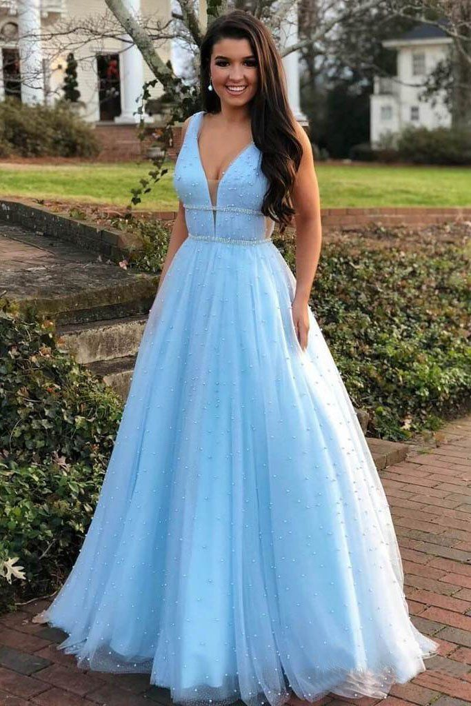 0c36fc5e4f A Line V Neck Tulle Light Blue Prom Dresses Floor Length Beads Evening Gowns   promdresses  eveningdresses  formaldresses  prom2019  promdresslightblue    ...