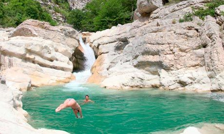 Diving into a pool at Clue d'Aiglun, Cote d'Azur
