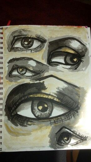 Eyes in ink and watercolor