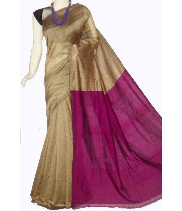 Golden Handloom Tussar Silk Saree