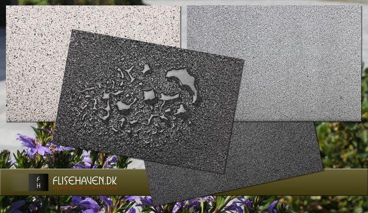 Coatede betonfliser som fortov, indkørsel og belægning i udendørs restaurant eller café.
