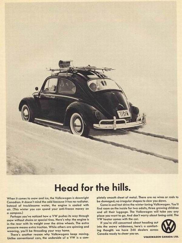 1960s Volkswagen ad Head for the hills