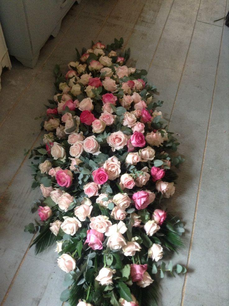 Funeral Flowers, Elegant mixed pink rose coffin spray, casket spray. www.thefloralartstudio.co.uk
