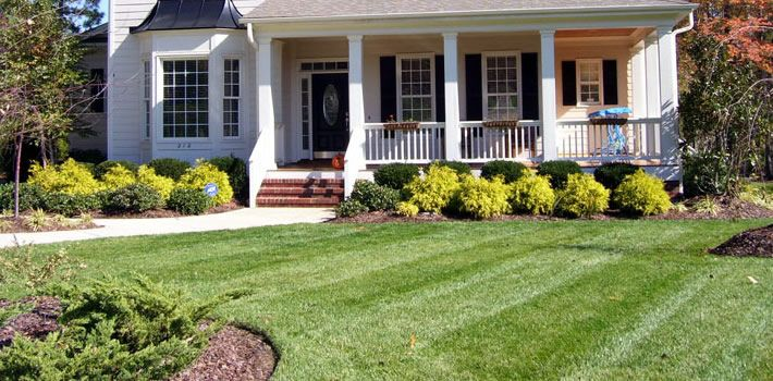 Simple front yard landscape plan i like the layred look for Easy care shrubs front house