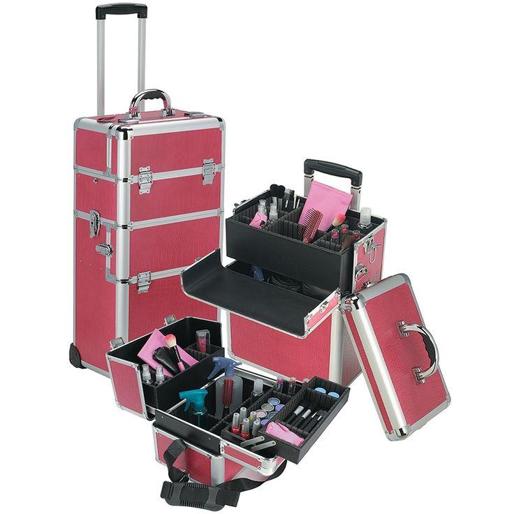 Pro Rolling Makeup Cosmetic Box Train Case Artist Storage Bag On Wheels Lock Key