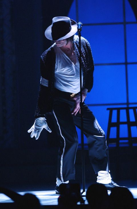 he is doing the moon walk!!!!!!!!!!!!! GO MICHAEL JACKSON I AM A BIG FAN OF YOURS!!!!!!!!!