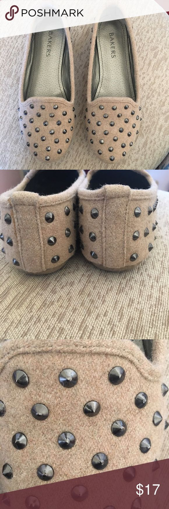 Taupe studded loafers Sweater like but structure taupe studded loafers Bakers Shoes Flats & Loafers