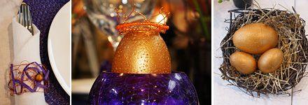 Kreativt bord - servetthållare, guldägg med krona och guld i rede