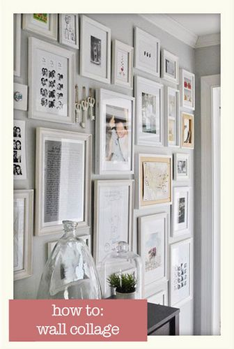 Wall collage: Idea, Photo Walls, Grey Wall, Galleries Wall, Collage Wall, House, White Frames, Frames Wall, Pictures Wall