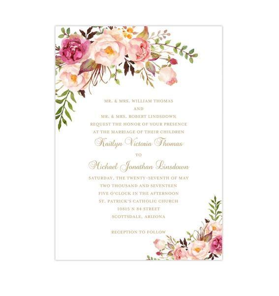 Printable Wedding Invitation Romantic Blossoms Make Your Own Invitations Diy Wedding Invitations Romantic Bridal Shower Invitations Templates Wedding Invitations Printable Templates