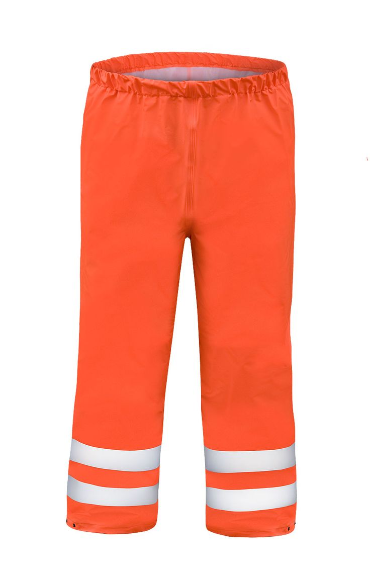 WATERPROOF WARNING WAIST TROUSERS Model: 086 The trousers have elaticated waist and press studded ankles. Reflective tapes on trousers make workers more visible. The trousers are made of light waterproof and breathable fabric called Aquapros and the model has been designed to be used at unfavorable weather conditions when visibility is limited. Thanks to double welded high frequency seams the product protects against rain and wind.