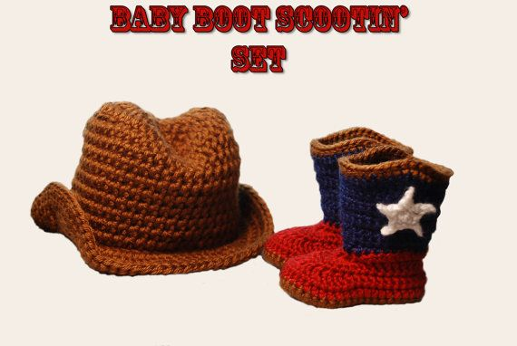 Crochet Baby Cowboy Hat and Cowboy Boot SetAny by pinkmooncrochet, $28.00