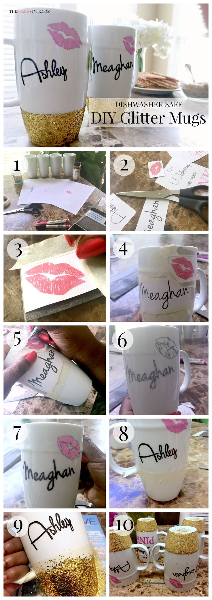 This easy tutorial will show you how to make personalized DIY glitter dipped mugs that are glamorous and dishwasher safe.