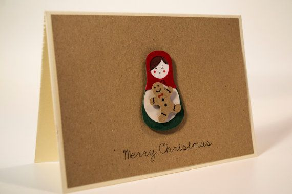 Unique handmade Christmas card/ Russian Doll, Matryoshka with a gingerbread man and rhinestone, / 3D paper cut/ Kraft paper