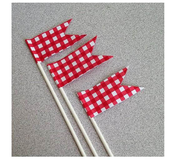 Cake toppers Red Gingham check Summer by ilPiccoloGiardino on Etsy