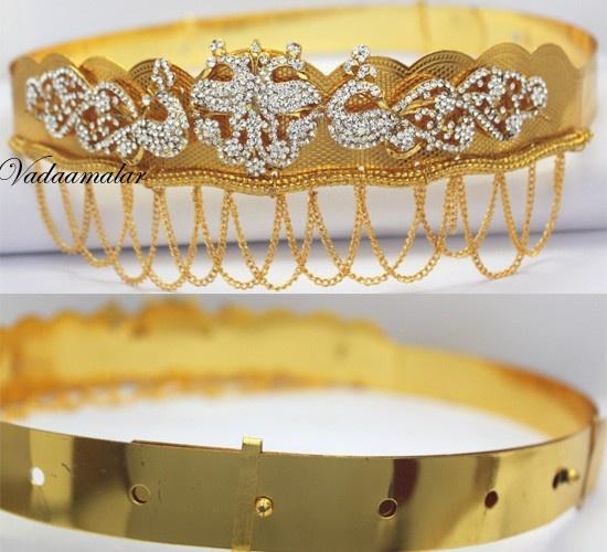 Kamarband white stone jewellery waist hip belt gold plated bharatanatyam oddiyanam