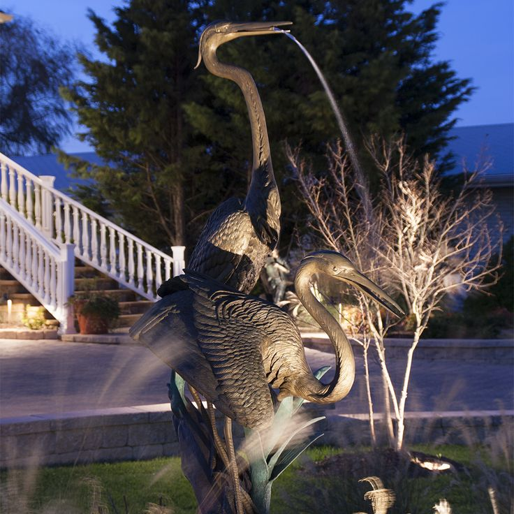 Water Feature Lighting for Gardens: Fixtures Used – CAST Classic LED Bullet (CBLED141), CAST Classic MR-16 Bullet Light (CBL1CB), CAST Craftsman Series Bronze Spot/Wash Light (CSSL10536B, CSSL18336B, CSSL18354B, CSSL25036B, CSSL25054B (New), CCW105B (New), CCW270B)