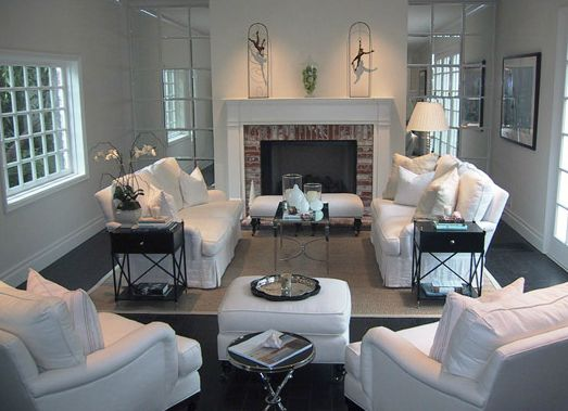 layout ... Jackson Page Interiors: Chic white living room with brick fireplace, white slipcover sofas, white bench with ...