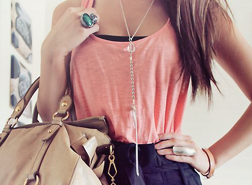 love this: Teen Fashion, Dreams Closet, Fashion Style, Color, Cute Outfits, Fashion Blog, Pink, Long Necklaces, Tanks